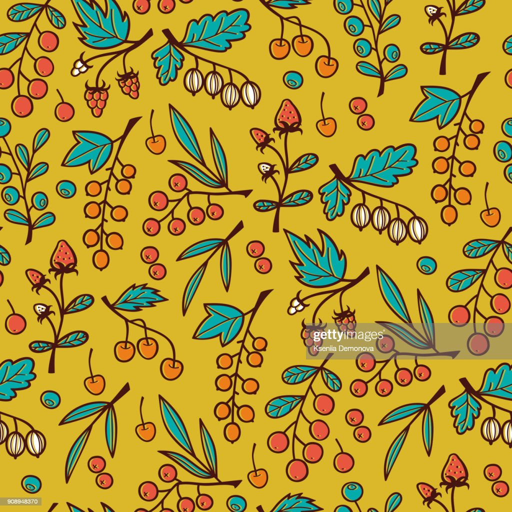 Seamless Pattern with Berries on Branches.
