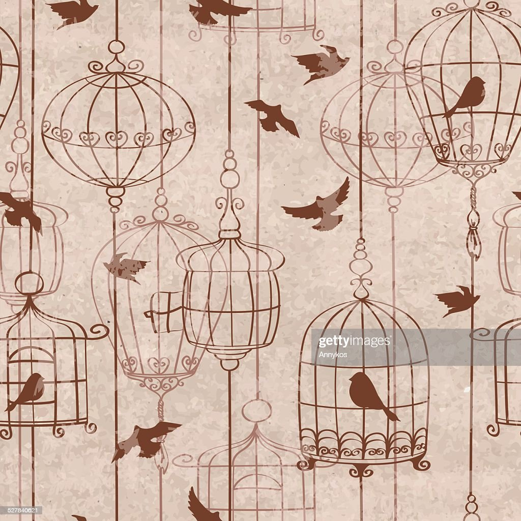 Seamless pattern with birds and cage