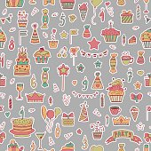 Seamless pattern with Birthday elements on grey background