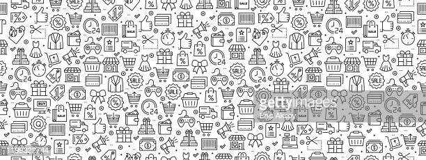 seamless pattern with black friday icons - friday stock illustrations