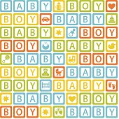 seamless pattern with  blocks baby boy