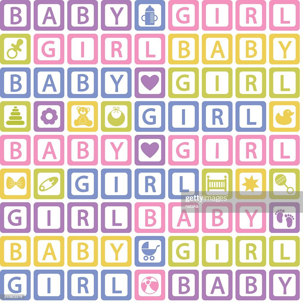 seamless pattern with  blocks baby girl