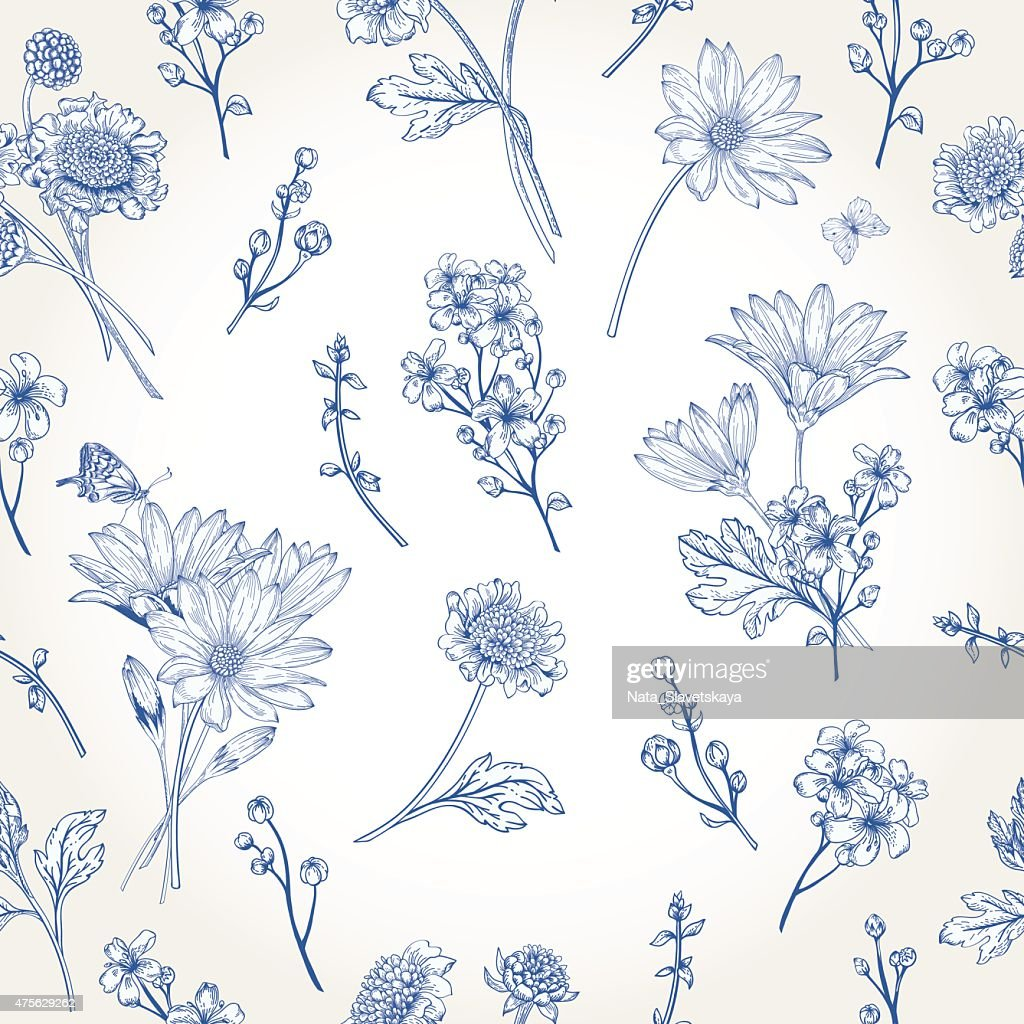 Seamless pattern with blue flowers.