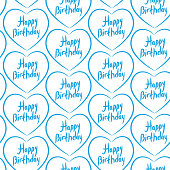 Seamless pattern with blue hearts on  white background. Happy birthday.