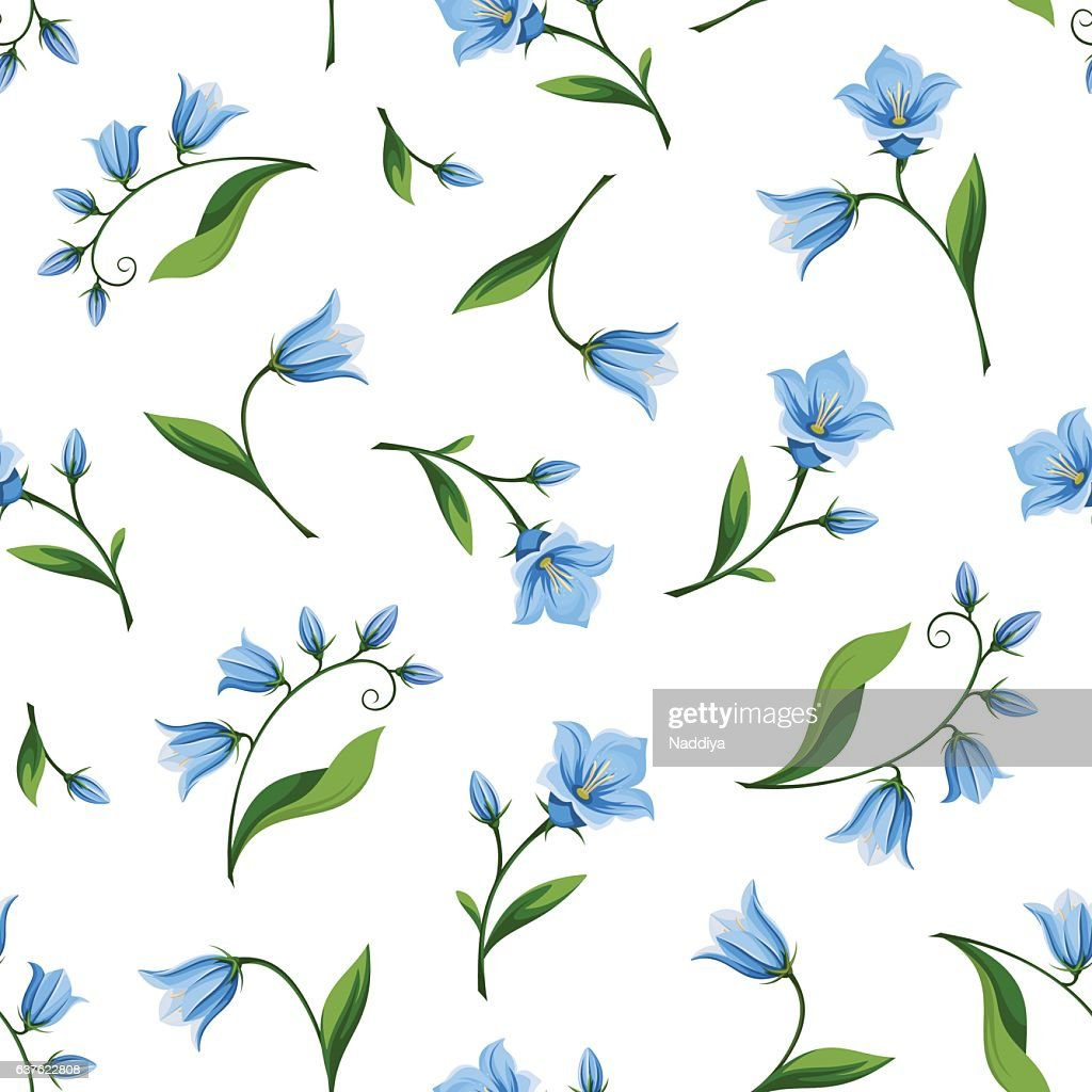 Seamless pattern with bluebell flowers. Vector illustration.