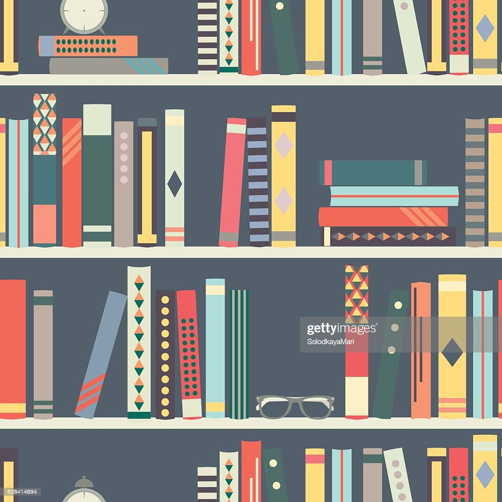 Seamless pattern with books on bookshelves in flat design style