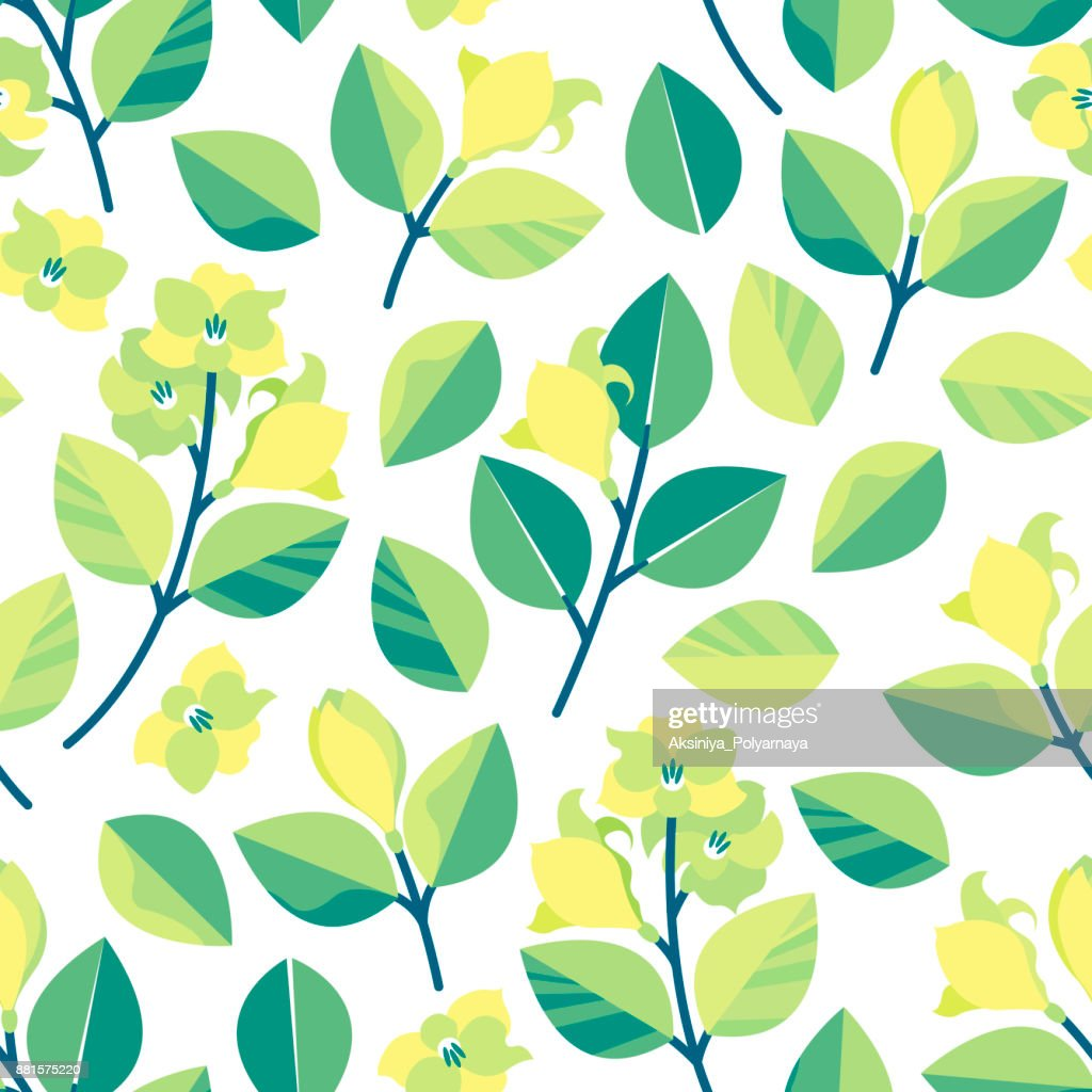 Seamless pattern with branches, leaves and lemon flowers. Spring background in a flat style. Vector illustration.