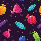 Seamless pattern with bright cartoon candies