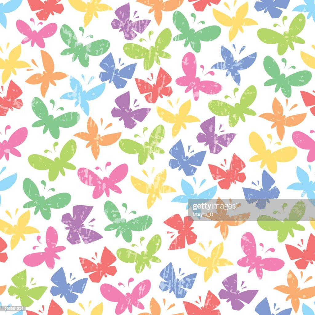 Seamless pattern with bright vector butterflies on white background