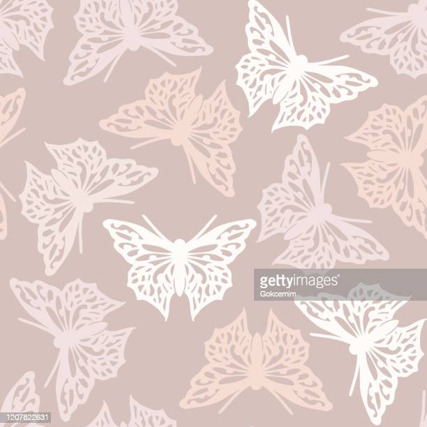 seamless pattern with butterflies, nude colored abstract background design. vector butterfly background. - femininity stock illustrations