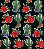 Seamless pattern with cactus and flowers in black background.