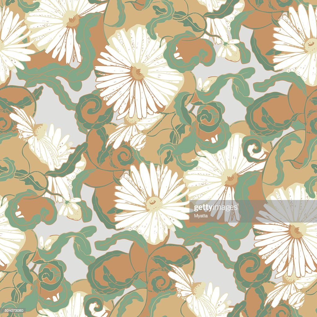 Seamless pattern with camomile flowers and curls