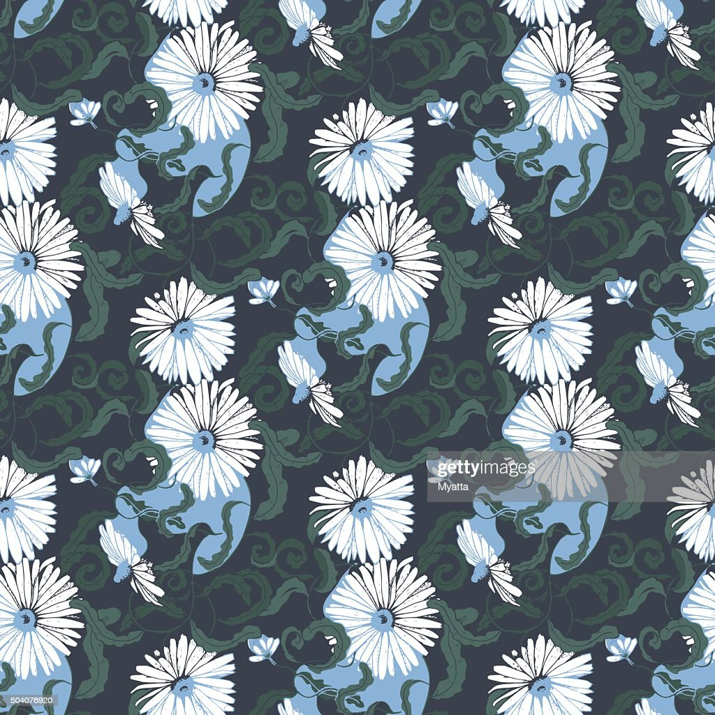 Seamless pattern with camomile flowers in shades of blue