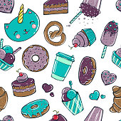 Seamless pattern with candy, donuts sweet icecream and other delicious elements.