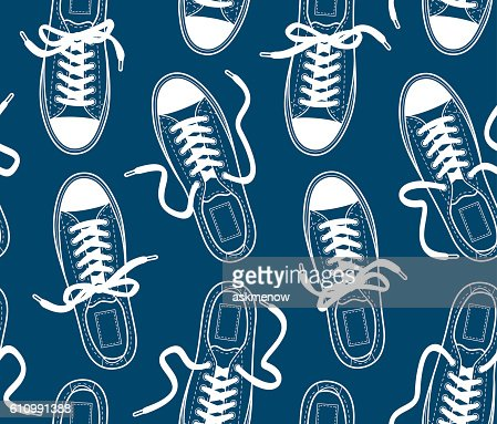 Seamless pattern with canvas gumshoes