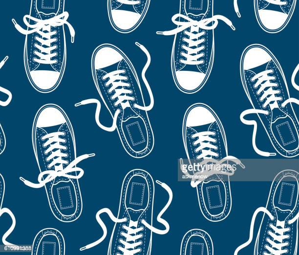 illustrations, cliparts, dessins animés et icônes de seamless pattern with canvas gumshoes - paire de baskets