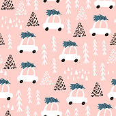 Seamless pattern with cartoon car going with christmas tree, forest elements and hand drawn shapes. Childish texture. Great for fabric, textile Vector Illustration
