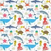 Seamless pattern with cartoon sea life animals