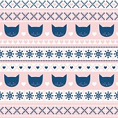 Seamless pattern with cats for holidays