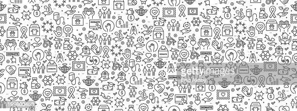 seamless pattern with charity icons - charity benefit stock illustrations