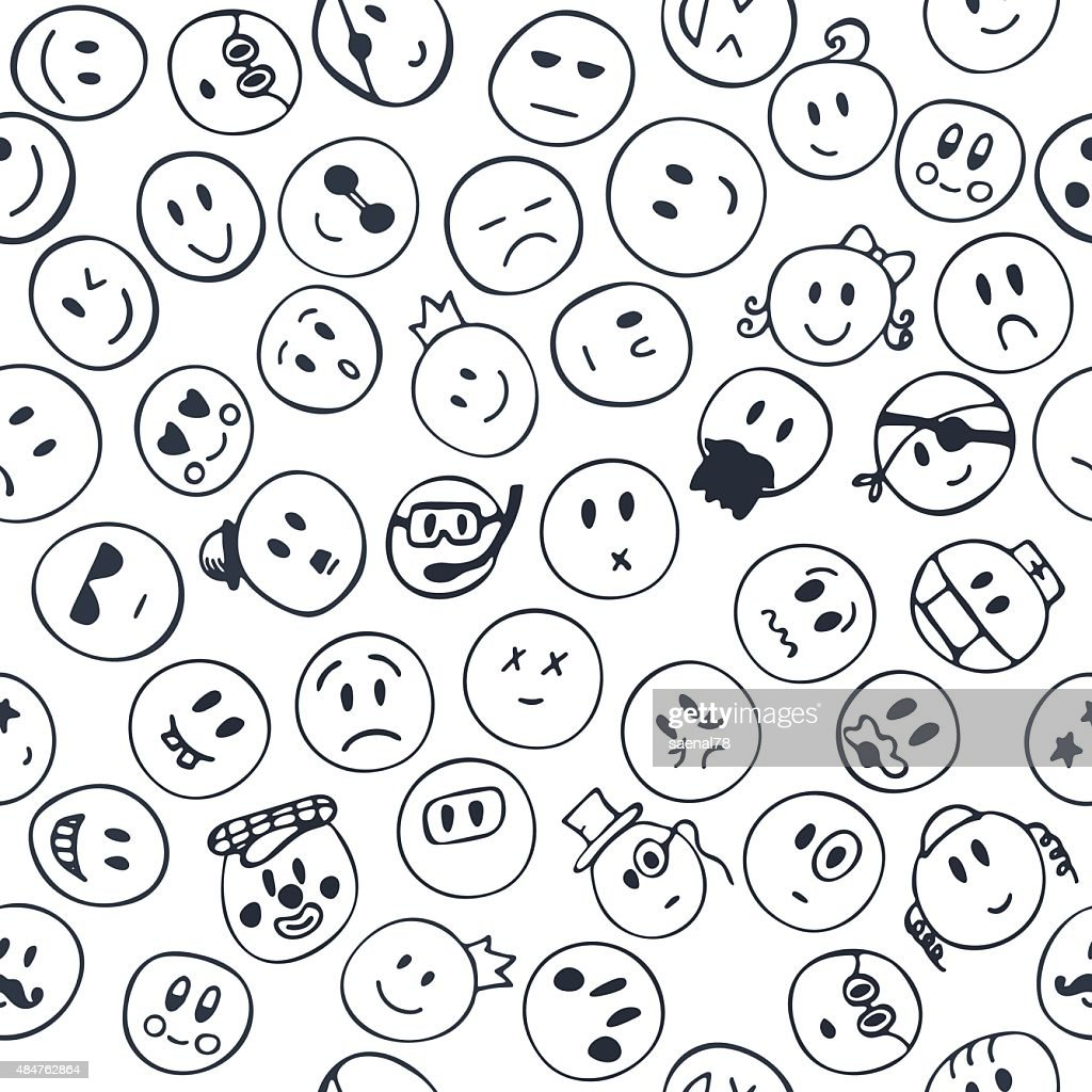 Seamless pattern with cheerful and happy smiley faces. Sketch em