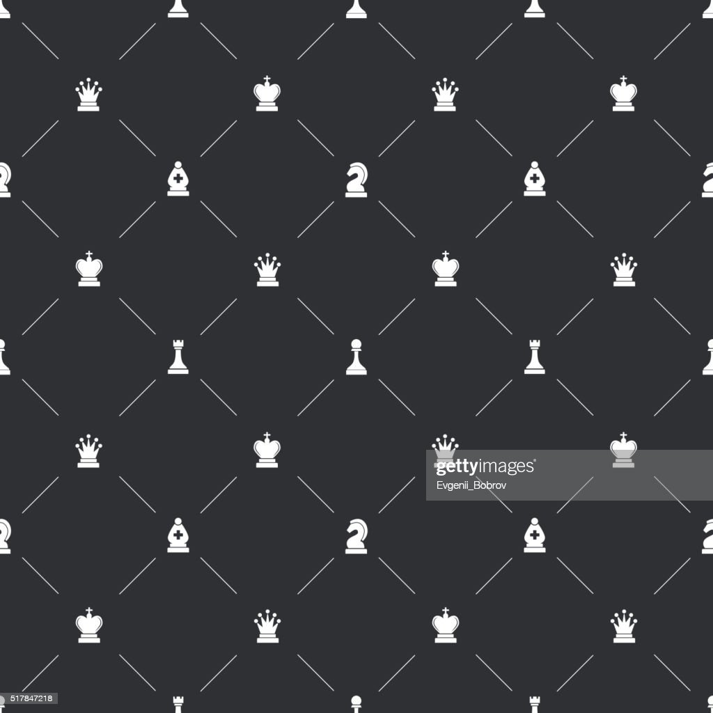 Seamless pattern with chess icons for book endpaper