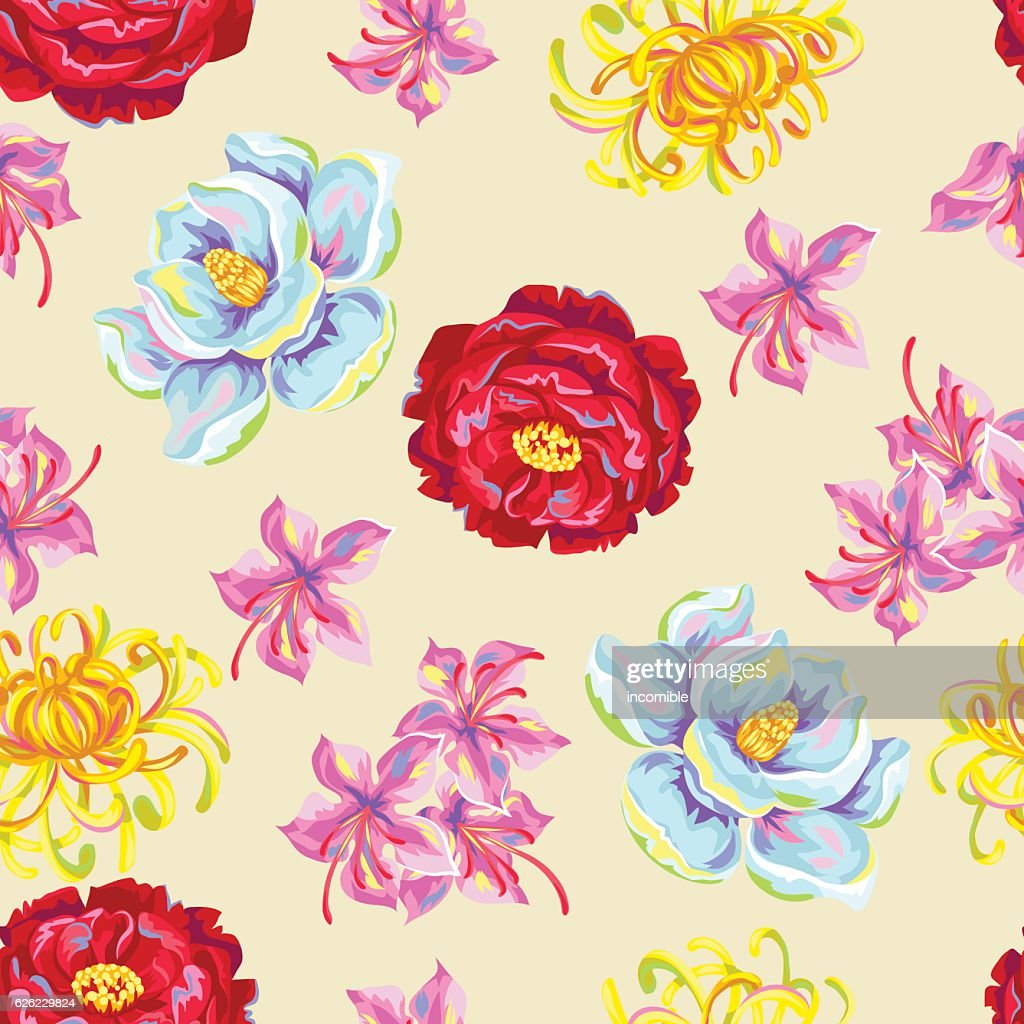 Seamless pattern with China flowers. Bright buds of magnolia, peony