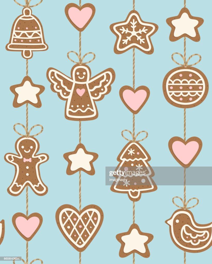 Weihnachtsgebäck Clipart.Nahtlose Muster Mit Weihnachtsgebäck Stock Illustration Getty Images