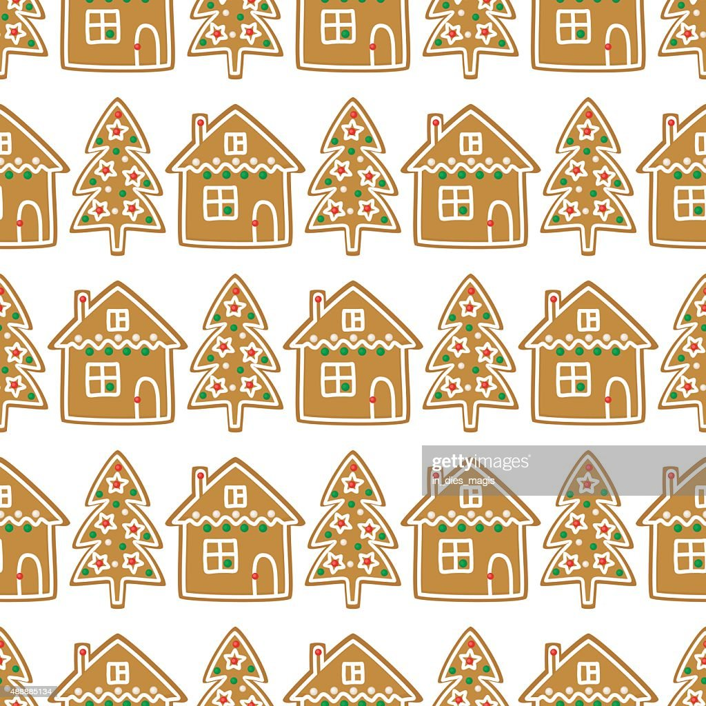 Seamless Pattern With Christmas Gingerbread Cookies Xmas Tree House