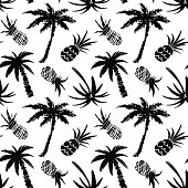 Seamless pattern with coconut palm trees and pineapples