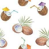 Seamless pattern with  coconuts and coconut cocktail, painted in watercolor.