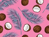 Seamless pattern with coconuts. Tropical abstract background in retro style