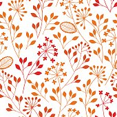 Seamless pattern with colored floral silhouettes on white background. Autumn hand-drawn vector illustration. Floral abstract background.