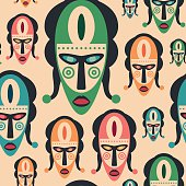 Seamless pattern with colorful carnival masks.