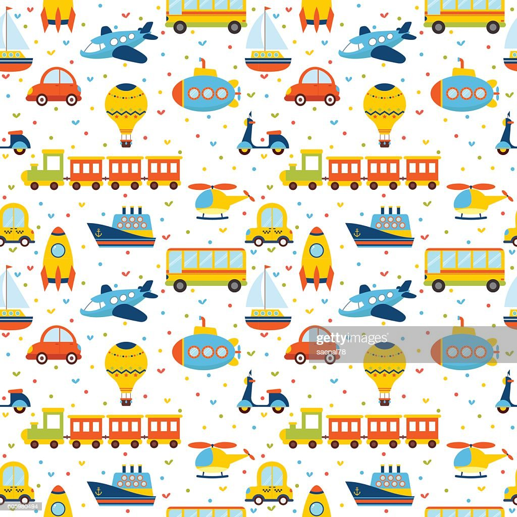 Seamless pattern with colorful cartoon transport