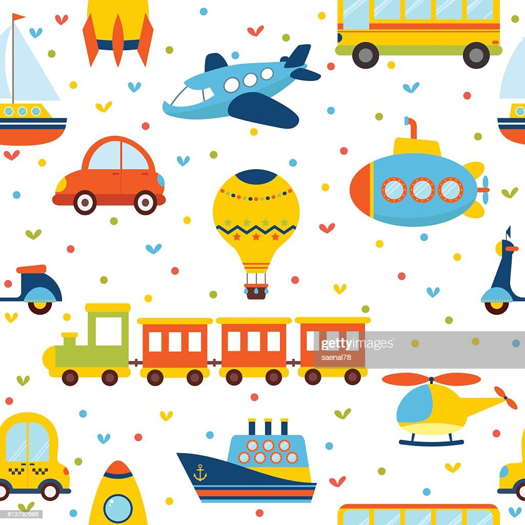 Seamless pattern with colorful transport. Cute