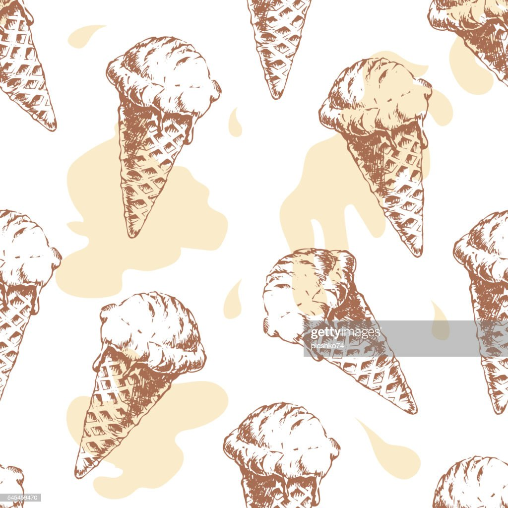 Seamless pattern with cone waffle ice cream