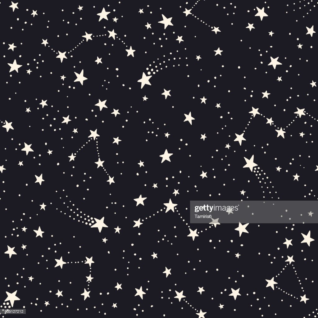 Seamless pattern with constellations and stars