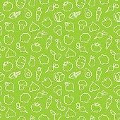 Seamless pattern with contours of vegetables