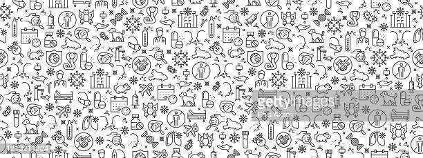 ilustraciones, imágenes clip art, dibujos animados e iconos de stock de patrón sin costuras con iconos de coronavirus - cobra