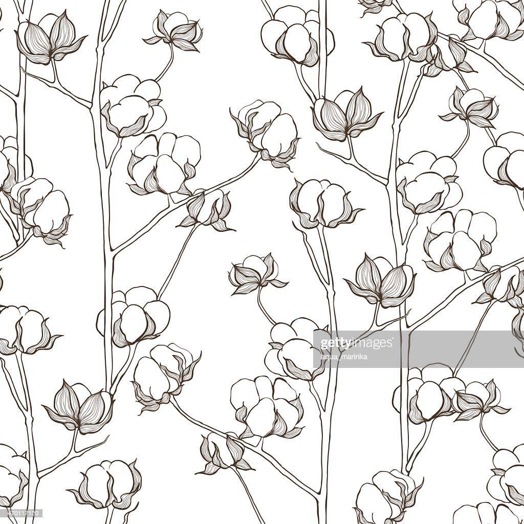 Seamless pattern with cotton branches. Vector vintage background.