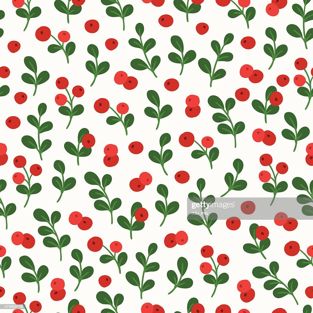 Seamless pattern with cowberry