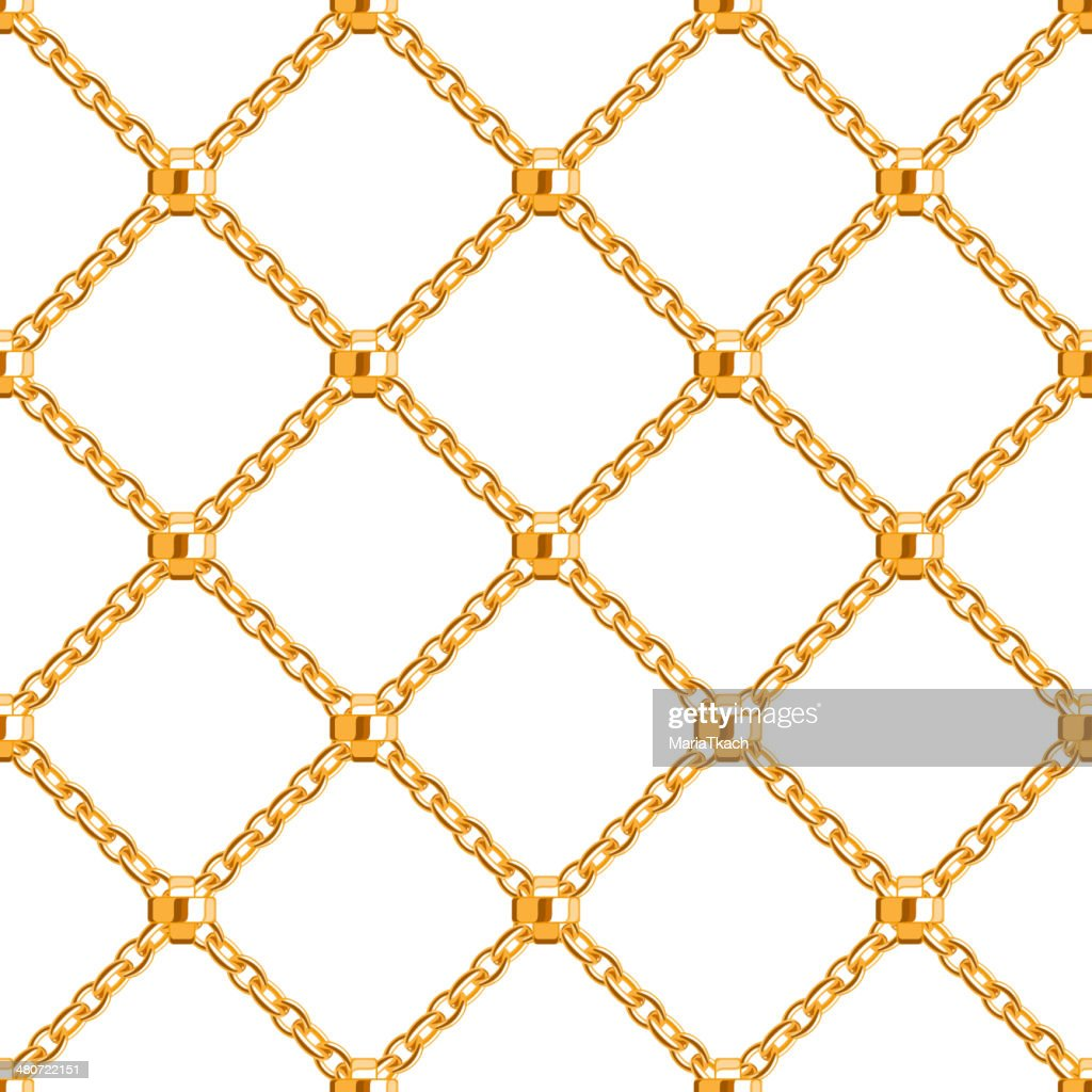 Seamless pattern with crossed golden chains. Abstract background.
