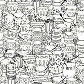 Seamless pattern with cups and mugs.