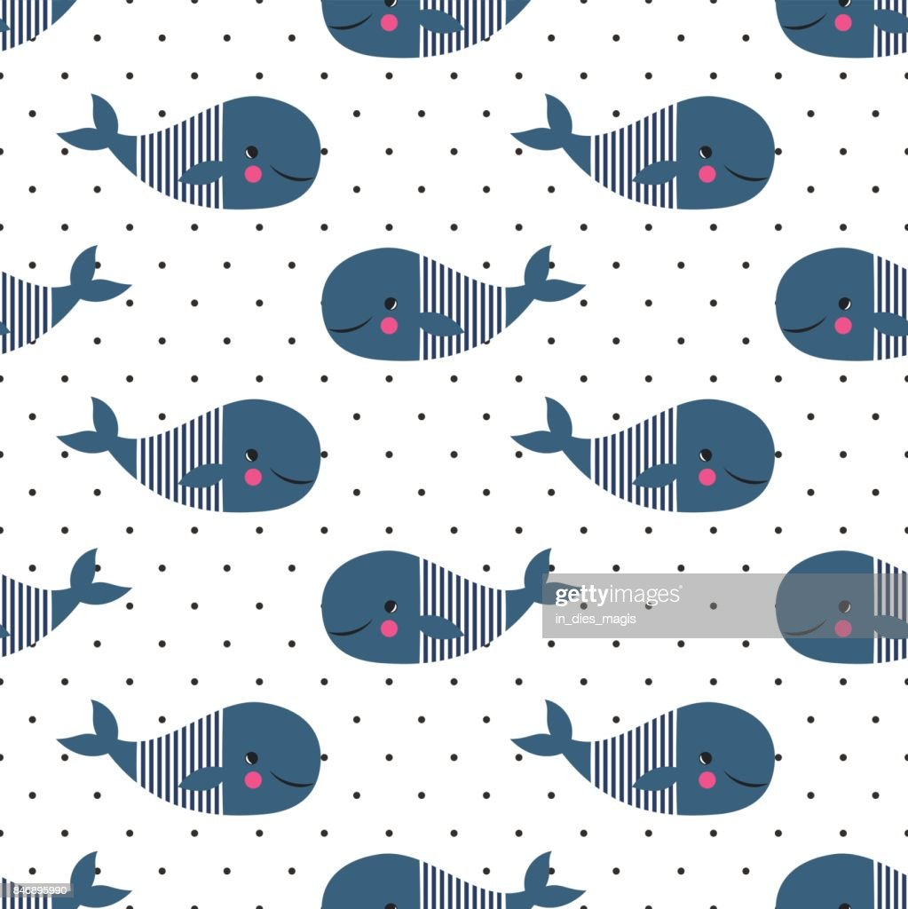 Seamless pattern with cute cartoon whales on polka dots background.