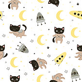 Seamless pattern with cute cats astronauts in helmets. Seamless background for kids design, wrapping paper, wallpaper, textile, apparel, fabric. Vector illustration EPS10