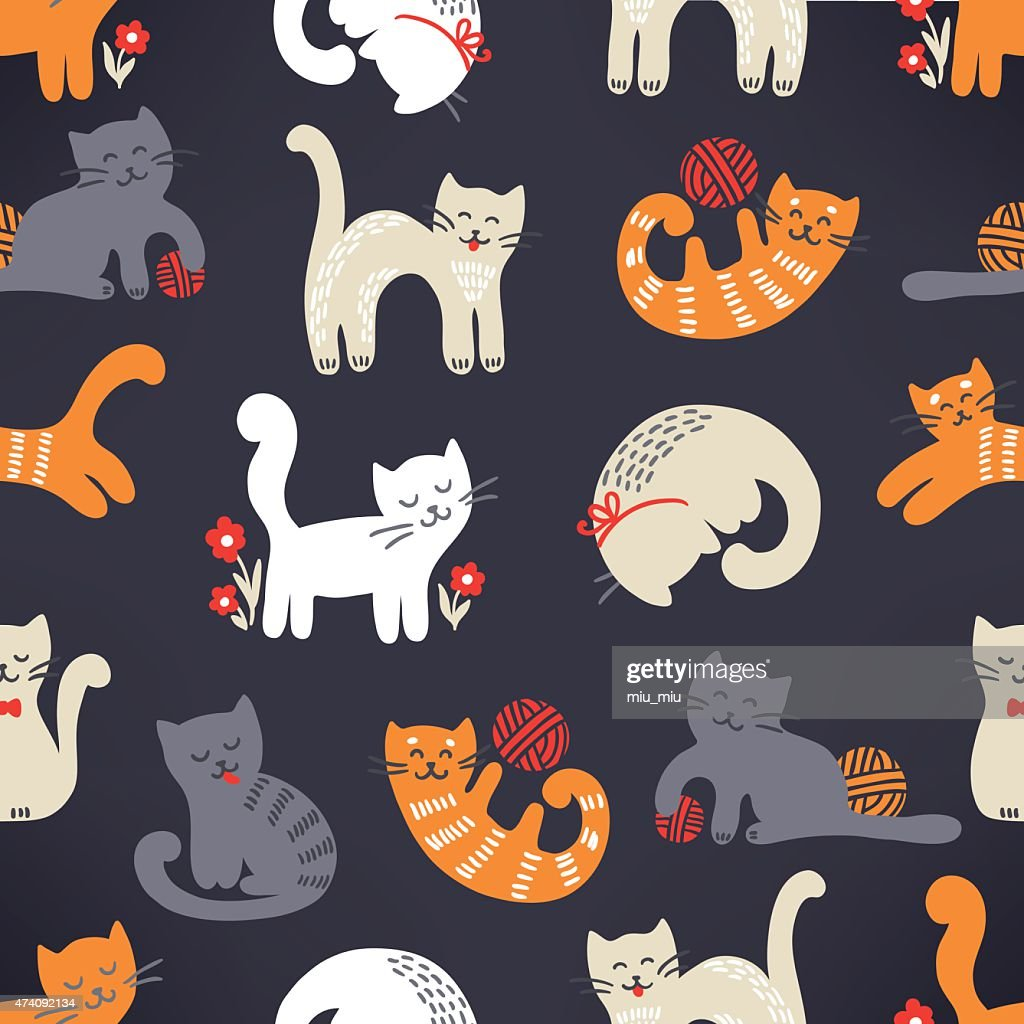 Seamless pattern with cute cats on dark background