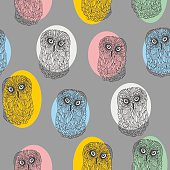 Seamless pattern with cute colorful owls.