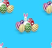 Seamless pattern with cute easter white fun rabbits, colorful eggs, blue background.