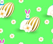 Seamless pattern with cute easter white fun rabbits, golden eggs, green background.